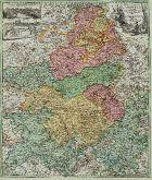 Altkolorierte Landkarte der Champagne-Ardenne. Gedruckt bei J.B. Homann um 1720 in Nürnberg.