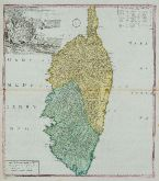 Old coloured map of Corse, Corsica. Printed in Nuremberg by Homann Erben in 1735.
