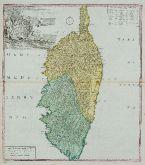 Altkolorierte Landkarte von Korsika. Gedruckt bei Homann Erben im Jahre 1735 in Nürnberg.