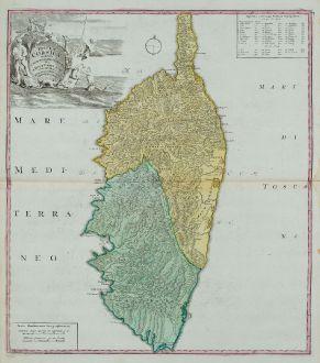 Antike Landkarten, Homann Erben, Frankreich, Korsika, 1735: Insulae Corsicae Accurata Chorographia Tradita Per I. Vogt Capit. S. C. M. et excusa Studio Homannian. Heredum / Norib....