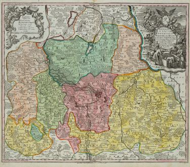 Antique Maps, Seutter, Germany, Brandenburg, Lower Lusatia, 1730: Marchionatus Lusatiae Inferioris Bohemiae olim Regno ...