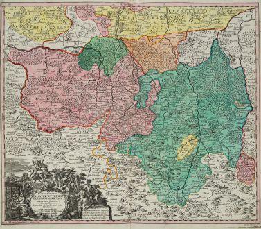 Antike Landkarten, Seutter, Deutschland, Sachsen, Oberlausitz, 1730: Marchionatus Lusatiae Superioris Felicissimo Poloniae Regis ...