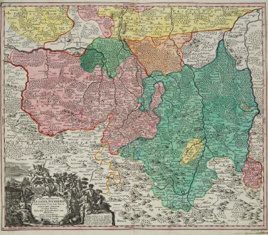 Antique Maps, Seutter, Germany, Saxony, Upper Lusatia, 1730: Marchionatus Lusatiae Superioris Felicissimo Poloniae Regis ...