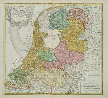 Antike Landkarten, Homann Erben, Niederlande, 1748: Septem Provinciae seu Belgium Foederatum