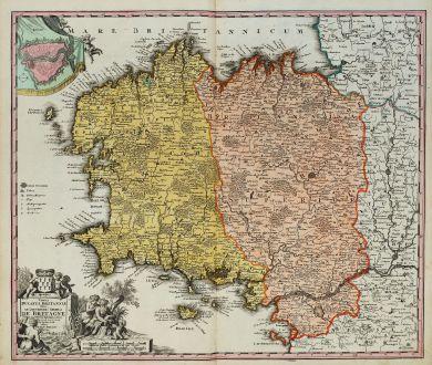 Antique Maps, Homann, France, Brittany, Bretagne, 1720: Tabula Ducatus Britanniae Gallis Le Gouvernemt. General De Bretagne ...