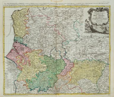 Antique Maps, Homann Erben, France, Pas-de-Calais, Picardie, 1746: Carte du Gouvernement General de Picardie ...