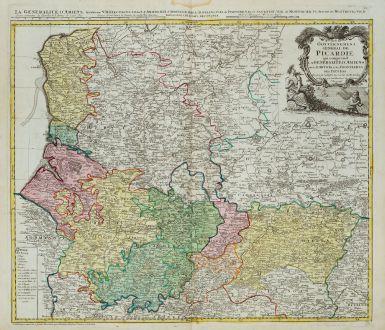 Antike Landkarten, Homann Erben, Frankreich, Pas-de-Calais, Picardie, 1746: Carte du Gouvernement General de Picardie ...