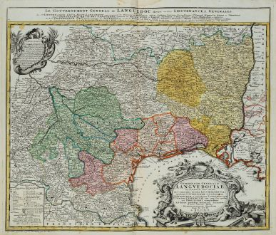 Antike Landkarten, Homann Erben, Frankreich, Languedoc-Roussillon, 1742: Gubernatio Generalis Languedociae occitania olim dictae in 3. generales divisae Locumtenentias