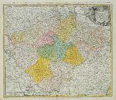 Altkolorierte Landkarte von Tschechien - Böhmen. Gedruckt bei Homann Erben um 1740 in Nürnberg.