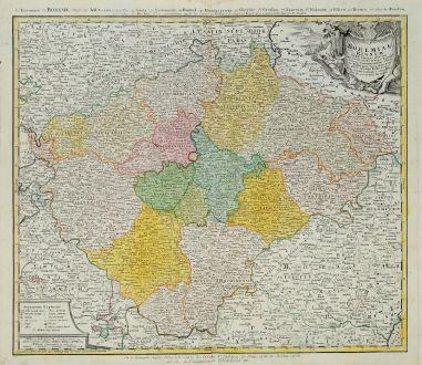 Antike Landkarten, Homann Erben, Tschechien - Böhmen, 1740: Bohemiae Regnum in XII Circulos divisum um Com. Glac. et Distr. Egerano ...