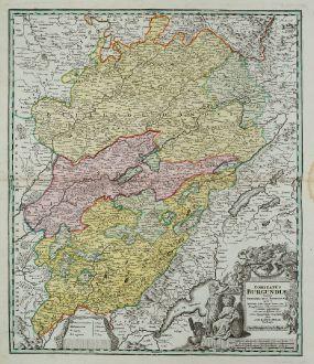 Antike Landkarten, Homann, Frankreich, Burgund, 1720: Comitatus Burgundiae tam in primarias ejus praefecturas ...