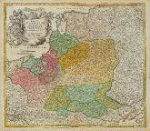 Old coloured map of Poland. Printed in Nuremberg by Johann Baptist Homann circa 1720.