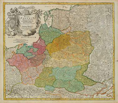 Antique Maps, Homann, Poland, 1720: Regni Poloniae Magnique Ducatus Lithuaniae Nova et Exacta Tabula
