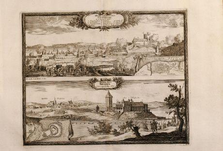Antike Landkarten, Pufendorf, Polen, Grudziadz, Graudenz, Kruszwica, Kruschwitz: Obsidio civitatis et Arcis Gravdensis / Munita Arx Krvsewix