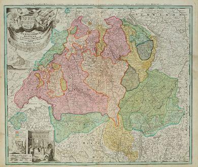 Antike Landkarten, Homann, Schweiz, 1720: Potentissimae Helvetiorum Reipublicae Cantones Tredecim cum Foederatis et Subjectis Provinciis