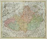 Old coloured map of Moravia. Printed in Nuremberg by Johann Baptist Homann circa 1720.