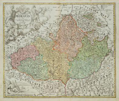 Antique Maps, Homann, Czechia - Bohemia, Moravia, 1720: Tabula Generalis Marchionatus Moraviae in Sex Circulos Divisae ...