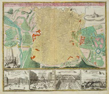 Antique Maps, Homann, Spain - Portugal, Madrid, 1720: Accurater Grundris der Königl. Spanischen Haupt und Residentz Stadt Madrit mit denen Prospecten des Könige Schlosses und...
