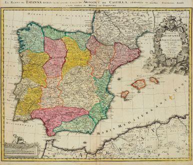 Antike Landkarten, Homann, Spanien - Portugal, 1720: Regnorum Hispaniae et Portugalliae tabula generalis de l'Isliana / El Reyno de Espanna ...
