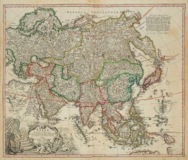 Antike Landkarten, Homann, Asien Kontinent, 1720: Asiae Recentissima Delineatio, qua Status et Imperia Totius Orientis Unacum Orientalibus Indiis Exhibentur