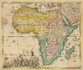 Old coloured map of the African continent. Printed in Nuremberg by Jacob von Sandrart circa 1697.