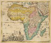 Altkolorierte Landkarte des afrikanischen Kontinents. Gedruckt bei Jacob von Sandrart um 1697 in Nürnberg.