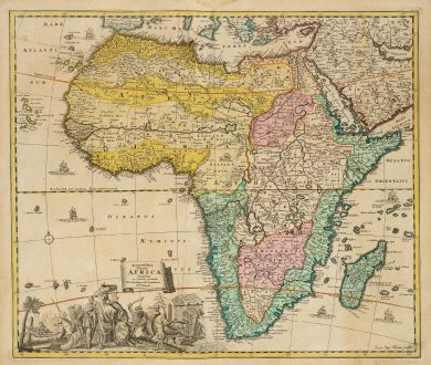 Antike Landkarten, Homann, Afrika Kontinent, 1697: Accuratissima Totius Africae Tabula in Lucem producta