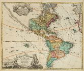 Old coloured map of the American continent. Printed in Nuremberg by J. B. Homann circa 1720.
