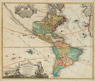 Antike Landkarten, Homann, Amerika Kontinent, 1720: Totius Americae Septentrionalis et Meridionalis Novissima Repraesentatio