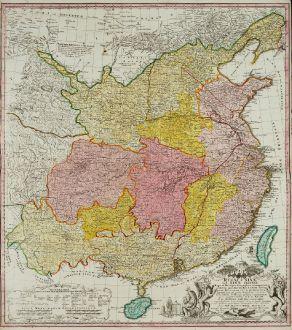 Antike Landkarten, Homann Erben, China, China mit Taiwan, 1740: Regni Sinae vel Sinae propriae Mappa ...