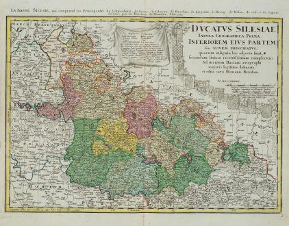 Antike Landkarten, Homann Erben, Polen, Breslau, Wroclaw, Schlesien, 1745: Ducatus Silesiae Tabula Geographica Prima Inferiorem Eius Partem / La Basse Silesie