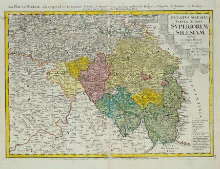 Antike Landkarten, Homann Erben, Polen, Schlesien, Oberschlesien, 1745: Ducatus Silesiae Tabula Altera Superiorem Silesiam / La Haute Silesie