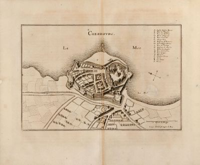 Antique Maps, Merian, France, Cherbourg, Basse-Normandie, 1657: Cherbovrg