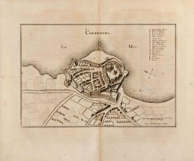 Antike Landkarten, Merian, Frankreich, Cherbourg, Basse-Normandie, 1657: Cherbovrg