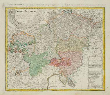 Antike Landkarten, Homann Erben, Österreich - Ungarn, 1747: Circulus Austriacus quem coponunt Archid Austríae, Ducatus Stitiae, Carinthiae, Carnioliae, Comit Tyrolensis ...
