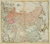 Old coloured map of Russia. Printed in Nuremberg by Homann Erben in 1739.