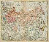 Altkolorierte Landkarte von Russland. Gedruckt bei Homann Erben im Jahre 1739 in Nürnberg.