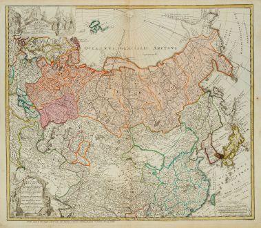 Antique Maps, Homann Erben, Russia, 1739: Imperii Russici et Tatariae Universae tam majoris et Asiaticae quam minoris et Europaeae Tabula ...