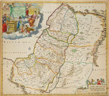 Antique Maps, Danckerts, Holy Land, Judea, Israel, 1690: Judaea sive Terra Sancta quae Israelitarum In Suas Duodecim Tribus Destincata Secretis Ab Invicem Regnis Juda, et Israel ...