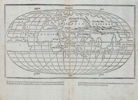 Antique Maps, Bordone, World Map, 1528-1565: [World map]