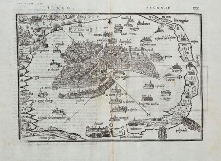 Antike Landkarten, Bordone, Italien, Venedig, Venezia, 1528-1565: Vinegia