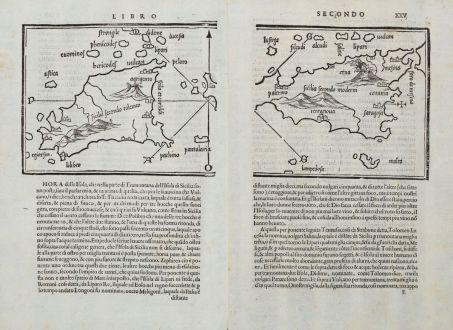 Antique Maps, Bordone, Italy, Sicily, Sicilia, 1528-1565: Sicilia secondo tolemeo / Sicilia secondo moderni