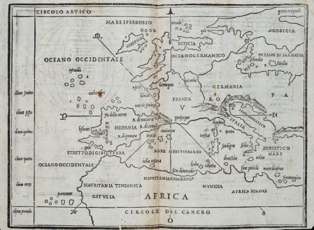 Antike Landkarten, Bordone, Europa Kontinent, 1528-1565: [Map of Europe]