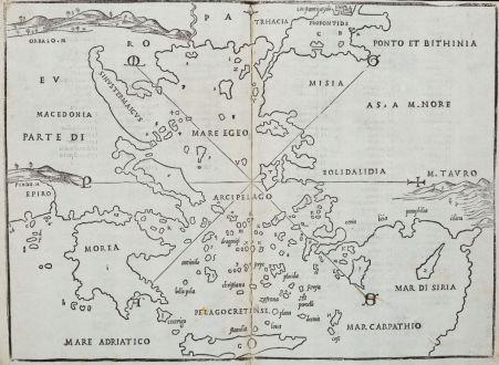 Antike Landkarten, Bordone, Griechenland, Ägäis, 1528-1565: [Aegean Sea. Greece, Macedonia, Turkey]