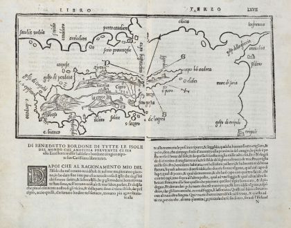 Antique Maps, Bordone, Cyprus, 1528-1565: Cipro