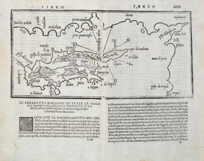 Antike Landkarten, Bordone, Zypern, 1528-1565: Cipro