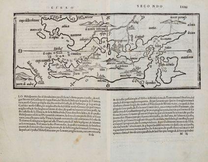 Antike Landkarten, Bordone, Griechenland, Negroponte, Euböa, 1528-1565: [Euboea, Negroponte, Bosporus, Istanbul]