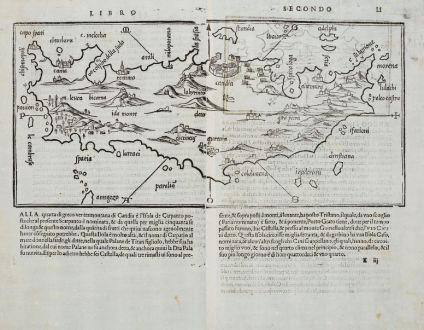 Antique Maps, Bordone, Greece, Crete and Karpathos, 1528-1565: [Candia, Crete, Karpathos]