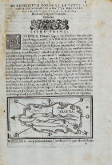 Antique Maps, Bordone, Iceland, Iceland and Ireland, 1528-1565: Islanda - Irlanda [Iceland and Ireland]