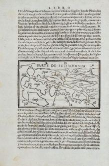 Antique Maps, Bordone, Balkan, Chioggia, Mazzorbo, Krk, Kres, Rab, Pag: Parte de Schiavonia, Mazorbo, Chiozza